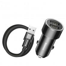 Baseus Small Screw - Ładowarka samochodowa 2 x USB, 3.4 A + kabel USB-C 2 A (czarny)