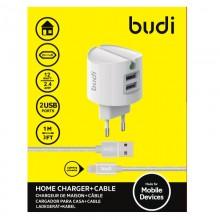Budi - Ładowarka sieciowa 2x USB + kabel Lightning 1 m (Biały)