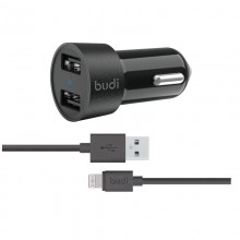 Budi - Ładowarka samochodowa 2x USB, 24W + kabel Lightning 1,2 m (Czarny)