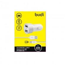 Budi - Ładowarka samochodowa 2x USB, 24W + kabel Lightning 1,2 m (Biały)