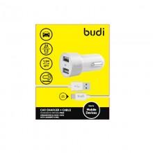 Budi - Ładowarka samochodowa 2x USB, 24W + kabel USB-C 1,2 m (Biały)