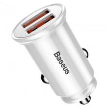 Baseus Circular - Ładowarka samochodowa 2 x USB QC 3.0, 30 W (biały)