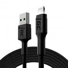 Green Cell Ray - Kabel Przewód USB - Lightning 200cm z białym podświetleniem LED, szybkie ładowanie Apple 2.4A