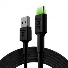 Green Cell Ray - Kabel Przewód USB - USB-C 200cm z zielonym podświetleniem LED, szybkie ładowanie Ultra Charge, QC 3.0