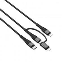 Borofone - kabel 4w1, 2x Lightning 1x micro USB 1x USB-C aluminium nylonowy oplot, czarny