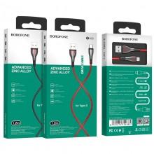 Borofone Highway - kabel połączeniowy USB do USB-C 1.2 m (czarny/czerwony)