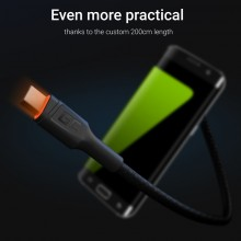 Green Cell Ray - Kabel Przewód USB - Micro USB 200cm z pomarańczowym podświetleniem LED, szybkie ładowanie Ultra Charge, QC 3.0