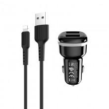 Borofone - ładowarka samochodowa 2x USB kabel Lightning w zestawie, czarny