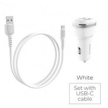 Borofone - ładowarka samochodowa 2x USB kabel USB-C w zestawie, biały