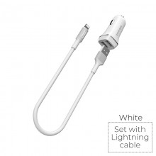 Borofone - ładowarka samochodowa 2x USB kabel Lightning w zestawie, biały