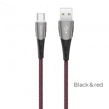 Borofone - Kabel USB-A do USB-C w oplocie z podświetlanym wtykiem, 1,2 m (Czarny/Czerwony)
