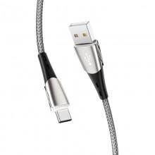 Borofone - Kabel USB-A do USB-C w oplocie z podświetlanym wtykiem, 1,2 m (Czarny/Szary)