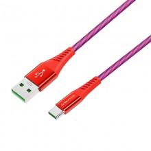 Borofone - Kabel USB-A do USB-C 5A w oplocie + aluminiowa obudowa, 1,2 m (Czerwony)