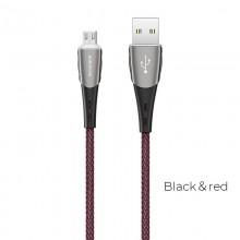 Borofone - Kabel USB-A do microUSB w oplocie z podświetlanym wtykiem, 1,2 m (Czarny/Czerwony)