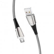 Borofone - Kabel USB-A do microUSB w oplocie z podświetlanym wtykiem, 1,2 m (Czarny/Szary)