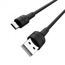 Borofone Silicone - kabel połączeniowy USB do microUSB 1m (czarny)