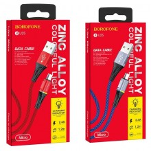 Borofone Glory - kabel połączeniowy USB do microUSB (niebieski)