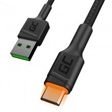 Green Cell Ray - Kabel Przewód USB - microUSB 120cm z żółtym podświetleniem LED, szybkie ładowanie Ultra Charge, QC3.0