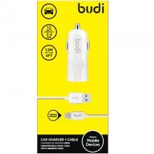 Budi - Ładowarka samochodowa USB + kabel Lightning (Biały)