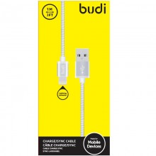 Budi - Kabel USB-A - Lightning w metalowej obudowie i oplocie, 1 m (Srebrny)