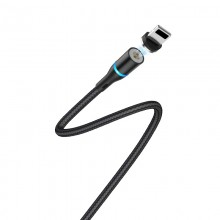 Borofone - Kabel USB-A do Lightning z magnetyczną końcówką i podświetleniem, 1,2 m (Czarny)