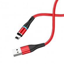 Borofone - Kabel USB-A do Lightning z magnetyczną końcówką i podświetleniem, 1,2 m (Czerwony)