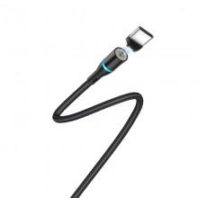 Borofone - Kabel USB-A do USB-C z magnetyczną końcówką i podświetleniem, 1,2 m (Czarny)