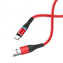 Borofone - Kabel USB-A do USB-C z magnetyczną końcówką i podświetleniem, 1,2 m (Czerwony)