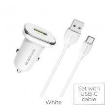 Borofone - ładowarka samochodowa USB z QC3.0 i kablem USB-C w zestawie, biały