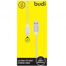 Budi - Kabel USB-A - USB-C w metalowej obudowie i oplocie, 1 m (Srebrny)