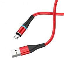 Borofone - Kabel USB-A do microUSB z magnetyczną końcówką i podświetleniem, 1,2 m (Czerwony)