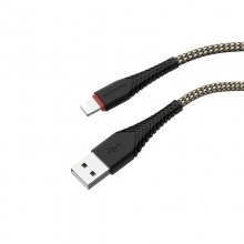 Borofone - kabel USB-A do Lightning z pozłacanym rdzeniem i nylonowym oplotem, 1m czarny