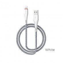 Borofone - kabel USB-A do Lightning z pozłacanym rdzeniem i nylonowym oplotem, 1m biały