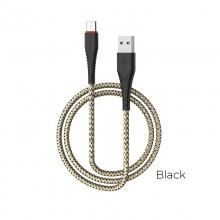 Borofone - kabel USB-A do USB-C z pozłacanym rdzeniem i nylonowym oplotem, 1m czarny