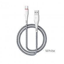 Borofone - kabel USB-A do USB-C z pozłacanym rdzeniem i nylonowym oplotem, 1m biały