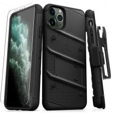 Zizo Bolt Cover - Pancerne etui iPhone 11 Pro Max ze szkłem 9H na ekran + podstawka & uchwyt do paska (Black/Black)
