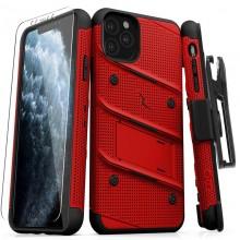 Zizo Bolt Cover - Pancerne etui iPhone 11 Pro Max ze szkłem 9H na ekran + podstawka & uchwyt do paska (Red/Black)