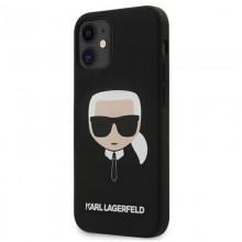 Karl Lagerfeld Silicone Ikonik Karl`s Head - Etui iPhone 12 mini (czarny)