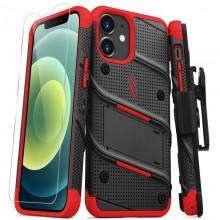 Zizo Bolt Cover - Pancerne etui iPhone 12 Mini ze szkłem 9H na ekran + podstawka & uchwyt do paska (czarny/czerwony)