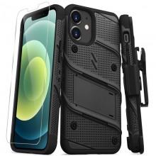 Zizo Bolt Cover - Pancerne etui iPhone 12 Mini ze szkłem 9H na ekran + podstawka & uchwyt do paska (czarny)