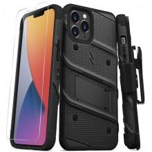 Zizo Bolt Cover - Pancerne etui iPhone 12 Pro Max ze szkłem 9H na ekran + podstawka & uchwyt do paska (czarny)