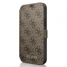 Guess Booktype 4G Charms Collection - Etui iPhone 12 Pro Max z kieszeniami na karty (brązowy)