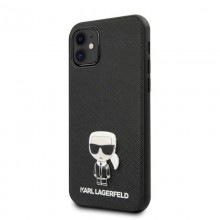 Karl Lagerfeld Saffiano with Pin Ikonik - Etui iPhone 12 mini (czarny)