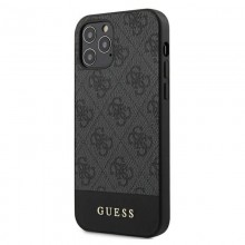 Guess 4G Bottom Stripe Collection - Etui iPhone 12 Pro Max (szary)