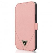 Guess Booktype Saffiano V – Etui iPhone 12 mini (różowy)