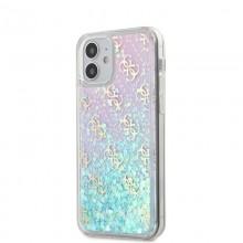 Guess 4G Liquid Glitter - Etui iPhone 12 Mini (różowy/turkusowy)