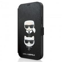 Karl Lagerfeld Booktype Saffiano Karl & Choupette Heads – Etui iPhone 12 Pro Max (czarny)