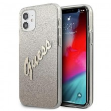 Guess Glitter Gradient Script - Etui iPhone 12 mini (złoty)