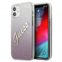 Guess Glitter Gradient Script - Etui iPhone 12 mini (różowy)