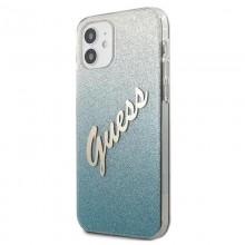 Guess Glitter Gradient Script - Etui iPhone 12 mini (niebieski)